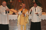 Celebrant: Don Teodoro de Faria, Bishop Emeritus of Funchal, Madeira, Portugal.  Fr. Gregory Pendergraft, FSSP, and Fr. James W. Dolan served as Pontifical Low Mass Chaplains.