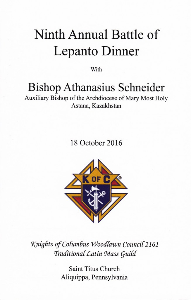 A traditional Latin Solemn High Mass for the Feast of Our Lady of the Holy Rosary was celebrated on Tuesday, 18 October 2016 at Saint Titus Church, Aliquippa PA – sponsored by the Knights of Columbus Woodlawn Council 2161 Traditional Latin Mass Guild. The celebrant was Bishop Athanasius Schneider, Auxiliary Bishop of the Archdiocese of Mary Most Holy, Astana, Kazakhstan. The PLMC, Inc. provided logistical and liturgical support.